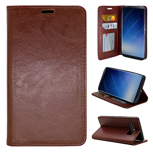 Galaxy Note 8 Case, Customerfirst Samsung Galaxy Note 8 Wallet Case [Genuine Leather] [Shock Absorption ] Folio Flip Case Cover for Samsung Galaxy Note 8 (Brown)
