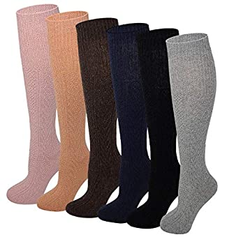 Sumona 6 pairs Women Cable Knit Knee High Winter Boot Socks 9-11  Assorted 9-11