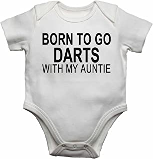Born to Go Darts with My Auntie - Personalised Baby Vests Bodysuits Baby Grows for Boys, Girls - White - 18-24 Months