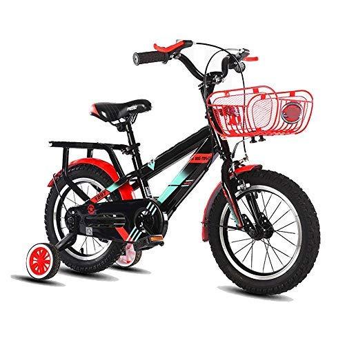 YSA Kinderfahrrad Kinderwagen mit Korb, 14.12.16/18 Zoll Fahrrad mit Stützrädern, Geschenke für Kinder, Jungenfahrräder für Neugeborene