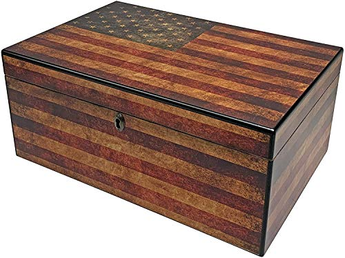 Old Glory Humidor, Weathered American Flag, Glass Hygrometer, Spanish Cedar Tray with Divider, SureSeal Technology, Holds 50 to 100 Cigars