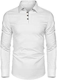 Gergeos Men's Button Shirts Long Sleeve Regular Fit Casual Turn-Down Collar T-Shirt Pullover