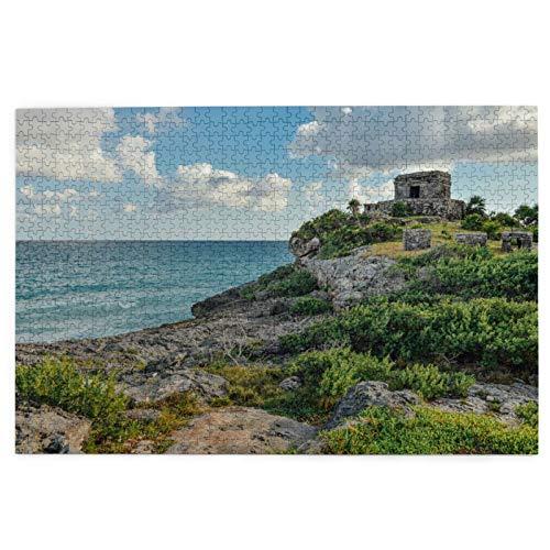 Rompecabezas de 1000 Piezas,Rompecabezas de imágenes,Ruinas de Tulum,Riviera Maya,México,Juguetes Puzzle for Adultos niños Interesante Juego Juguete Decoración para El Hogar