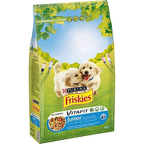 Freskies Junior – Pollo, con Leche y Verduras añadidas – 4 kg – Pienso para Cachorro – Juego de 4