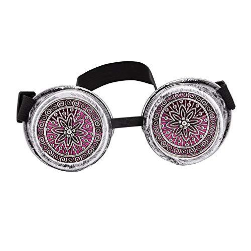 KAERMA Diseño del Partido del Festival del delirio Rojo Gafas de Sol Floral EDM Lente Gafas de Soldador de Steampunk del Punk gótico Gafas de la Vendimia Gafas de Moda (Color : Ancient Silver Frame)