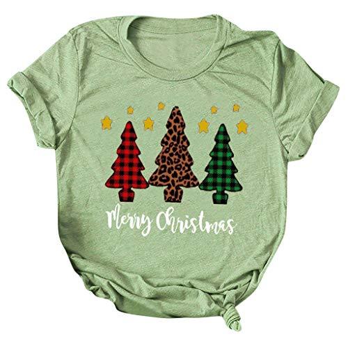 Camiseta Navidad de Moda para Mujer SUNNSEAN Camiseta de Año Nuevo, Feliz Camiseta de Navidad, Camiseta Gráfica...