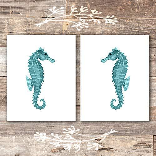 Seahorse Art Prints (Set of 2) - Unframed - 8x10s