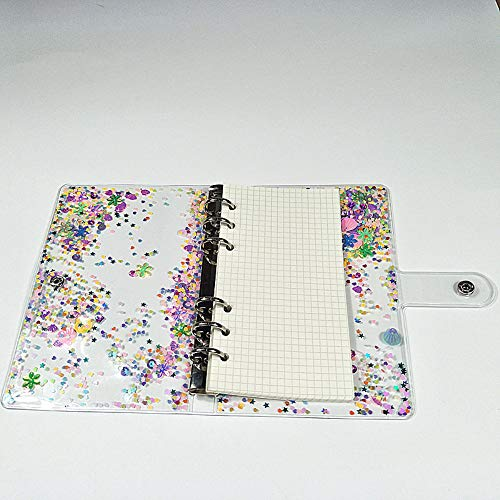 Personal A6 6 Holes Binder Cover Glitter Quicksand Soft PVC Planner Protector with Snap Button Closure Loose Leaf Folder 40 Sheets Grid Paper Refill (Personal A6, Binder Cover + 40 Sheets Grid Pages)