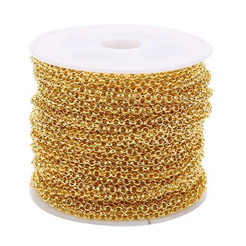 FLAMEER 10 Yards Edelstahlkette Kugelkette aus Edelstahl Rollo Kette Perlenkette Halsketten Dekoration - Gold