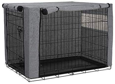 Hundekäfig-Abdeckung für Drahtkäfige, strapazierfähiges Polyester, winddicht, für drinnen und draußen, Haustierzubehör passend für die meisten Hundekäfige – nur Abdeckung (grau, 78,7 x 50,8 x 53,3 cm)