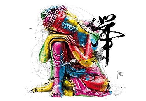 1 Wall Patrice Murciano Colourful Buddha Nicht Gewebt Wand einkleistern Wandbild, Holz, Mehrfarbig, 3,6x 2,53m