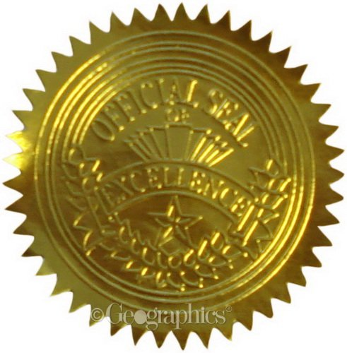 Geographics Gold Foil Certificate Seals, Embossed, Set of 100 (20014)