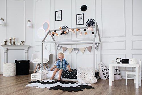 Sweet Home de madera Montessori cama – cama de madera para niños y niños – marco de cama de diseño escandinavo para dormitorio de niños (gris)