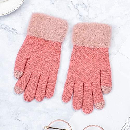Guantes elásticos Suaves y cálidos para Todos los Dedos engrosados con Pantalla táctil de Invierno para Mujer - Peach3, tamaño Libre