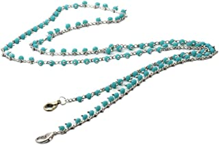 Fugift - Portachiavi a forma di cordino per occhiali in metallo, con perline, multicolore