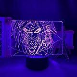 Anime - Lámpara acrílica 3D Attack On Titan Levi Ackerman para Home Room Decor Luz Niño Regalo Attack On Titan LED Night Light - Mando a distancia