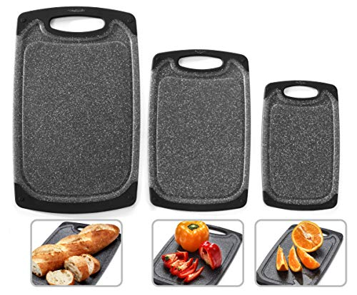 Home & Kitchen Essentials 3-Piece Cutting Board Set. Reversible, Marble Granite Gray, BPA Free, Dishwasher Safe, Easy-Grip Handle and Non-Porous with Juice Grooves