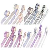 No-Branded Set de cintas decorativas washi, 24 rollos Cinta de papel washi cinta washi de enmascarar cinta de papel japonesa cinta washi cuadrícula cinta scrapbook para fiesta de oficina de bricolaje