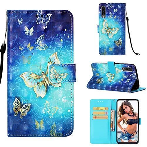 Careynoce Samsung Galaxy A50s Coque,Effet 3D Motif Coloré Pattern Boucle Magnétique Conception Flip avec Fonction Support Housse Etui Cuir PU Coque Pour Samsung Galaxy A50s - Papillon Bleu