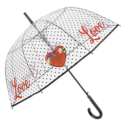 Doorzichtige paraplu met punten koepel stokscherm - Automatische paraplu met romantische liefde motief en hart - PEG materiaal - diameter 89 cm - Perletti