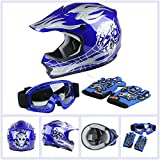 TCT-MT Helmet w/Goggles Gloves DOT Youth Kids Blue Skull Helmet Dirt Bike Motocross ATV Helmet Gloves Goggles S~XL (Small)