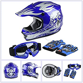 TCT-MT DOT Helmet w/Goggles Gloves Youth Kids Blue Skull Dirt Bike Motocross ATV Helmet Gloves Goggles S~XL  X-Large