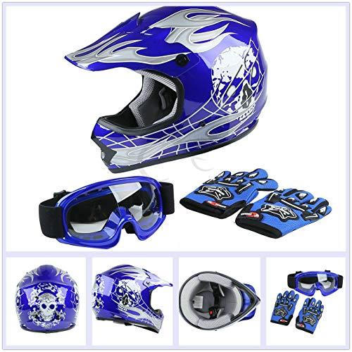 TCT-MT DOT Blue Skull Helmet w/Goggles Gloves Youth Kids Dirt Bike Motocross ATV Helmet Gloves Goggles S~XL (Large)