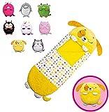 XJBQ Saco de dormir para niños 2 en 1 con diseño de animales de dibujos animados, plegable, cómodo y cálido, 160 x 60 cm, saco de dormir sorpresa (160 x 60 cm, perrito amarillo)