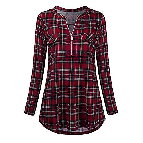 Xmiral Damen Shirt Bluse Rolled Sleeve Reißverschluss mit V-Ausschnitt Plaid Printed Tops(XL,Rot)