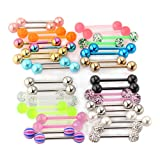 40pcs 14G Mix-Color Stainless Steel Straight Barbell Tongue Rings Bars Piercing 5/8' Length Acrylic Glow In Dark Flexible Retainer Body Jewelry For Women Men