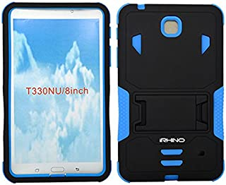 [iRhino] TM BLACK-blue Heavy Duty rugged impact Hybrid Case cover with Build In Kickstand Protective Case For Samsung galaxy Tab 4 8.0 inch T330 Tablet