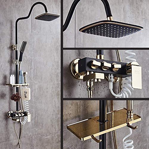 DFJU Conjunto de banho de chuveiro com Tinta preta, latão sólido, luxo, chuva, torneiras, torneiras, misturador, chuveiro, Parede, torneiras, pretas