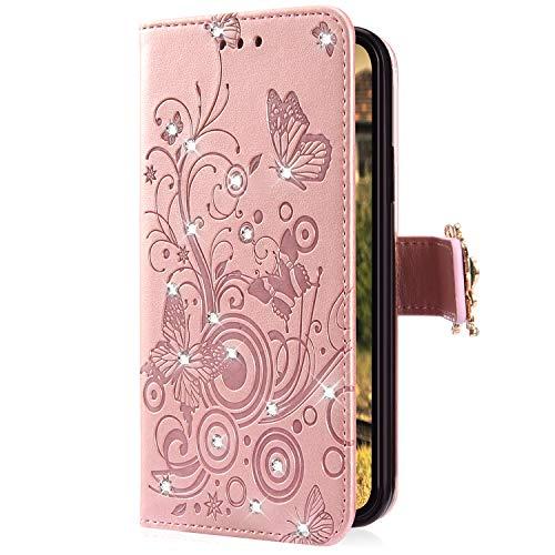 Uposao Kompatibel mit Huawei Honor 10 Handyhülle Schmetterling Blumen Muster Diamant Strass Bling Glitzer Leder Wallet Schutzhülle Brieftasche Leder Hülle Klapphülle Brieftasche Tasche,Rose Gold