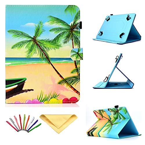 Universal Case for 8 inch Tablets, Uliking Slim Flip Stand Cover [Card & Pencil Holder] for 7.9  8.0  Fire HD 8, Galaxy Tab E Tab S2 Tab A 8.0, iPad Mini 1 2 3 4, Other 7.5 -8.5  Tablet, Beach Palm