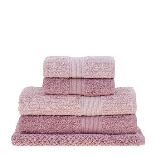 jogo de toalhas de banho buddemeyer 5 peças fio penteado canelado rosa 092