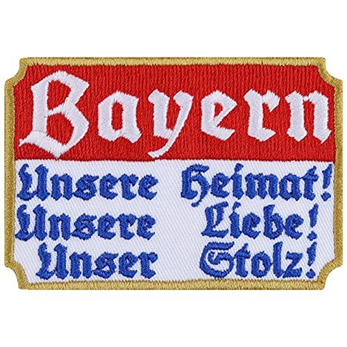 Bayern Aufnäher Unsere Heimat - Unsere Liebe Aufbügler Patriot Patch Biker Bügelbild Flagge Sticker Deutschland Geschenk Rocker DIY Applikation Jacke/Weste/Boots/Motorradkoffer 80x55mm