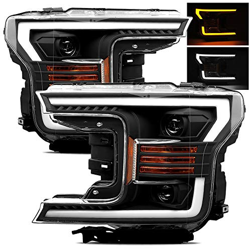 AlphaRex Base Model Black Fit 18-20 Ford F150 Halogen Type Black Switchback DRL/Signal LED Tube Dual Projector Headlights