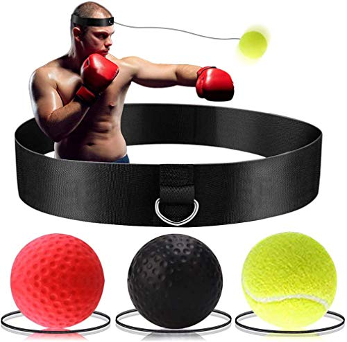 Boxing Reflex Ball-Boxing Reaction Training Equipment 3 Difficulty Level Boxing Ball with Headband for Adults and Kids,Suit for Reflex, Focus, and Hand-Eyes Coordination Training