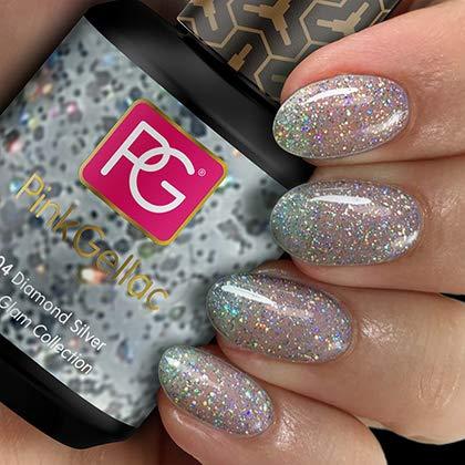 Pink Gellac UV Nagellack 204 Diamond Silver. Professionelle Gel Nagellack shellac für mindestens 14 Tage perfekt glänzende Nägel