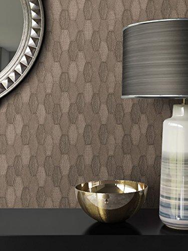 Tapete Braun Vlies in Stoff-Optik | schöne, moderne, edle Tapete im Grafik-Design | für Wohnzimmer, Schlafzimmer oder Küche inklusive Newroom Tapezier-Profibroschüre mit Tipps für perfekte Wände