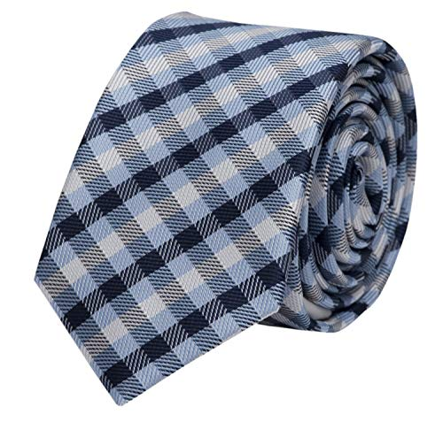 Fabio Farini - Elegante Herren Krawatte kariert in 8cm Breite in verschiedenen Farben für jeden Anlass wie Hochzeit, Konfirmation, Abschlussball Dunkelblau Hellblau Weiß