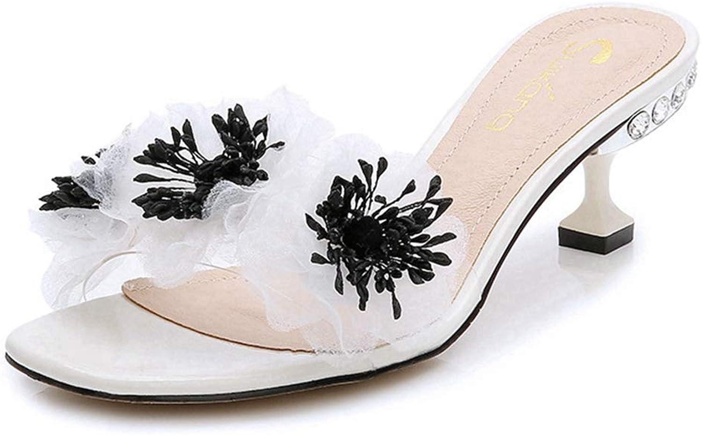 CYBLING Women's Open Toe Dress Slip On Slide Sandals Flowers Stiletto Kitten Heels Slipper shoes
