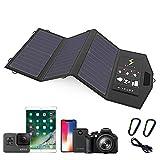 Solar Pannelli Solari Portatili Caricabatterie Solare 5V 21W Pannello Solare con Doppia Porta USB Resistente all'Acqua Pieghevole per Telefoni Cellulari Tablet Power Bank e Camping Travel