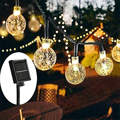 8 modos de luz solar bola de cristal 5M/7M/12M/LED cadena de luces de hadas guirnaldas para fiesta de Navidad decoración al aire libre Día de la Madre (color: A, tamaño: 6,5 m 30 LED) SKYJIE