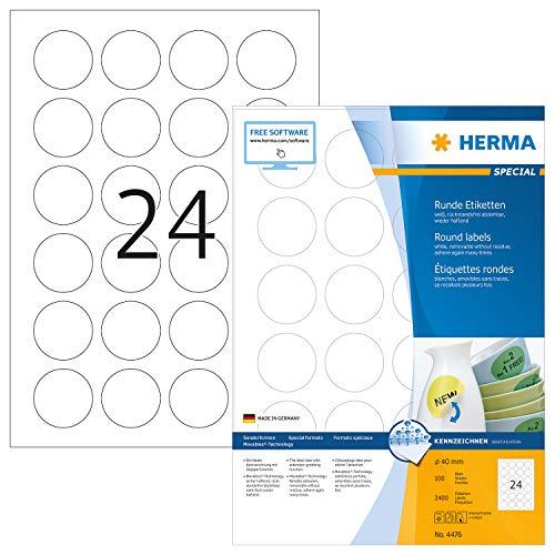 HERMA 4476 Universal Etiketten DIN A4 ablösbar (Ø 40 mm, 100 Blatt, Papier, matt, rund) selbstklebend, bedruckbar, abziehbare und wieder haftende Adressaufkleber, 2.400 Klebeetiketten, weiß