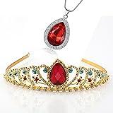 Kzslive Elena de Avalor Tiara collar de lágrima conjunto de joyas princesa accesorios de vestuario corona con rubí simulado regalos