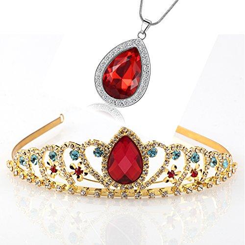 hengkaixuan Elena of Avalor Tiara Necklace Teardrop Jewelry Set Princess...