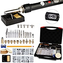 52 PCS Wood Burning Kit, Ockered Wood Tool with Adjustable On-Off Switch Control Temperature 150~450 ℃ Professional Wood Burning Pen DIY Various Wooden Kits Carving/Embossing/Soldering Tips