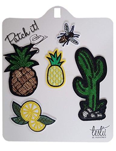 Leslii Bügel-Bilder Ananas Biene Kaktus Bügel-Patches Flicken Grün Gelb 5er Set Textil Pailletten Patches Aufnäher