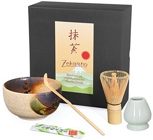 Aricola Bio-Matcha Starter Set 4 pezzi Beige/Marrone Composto da: Originale Ciotolina giapponese Matcha, Cucchiaio Matcha, frustino (bambù) e porta scopa in elegante confezione regalo.